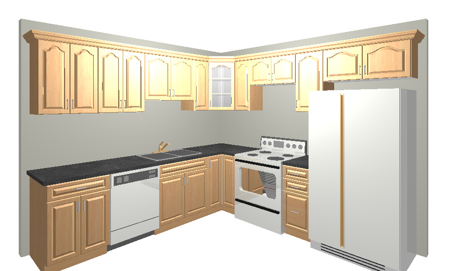 Medium image of here is a typical 10x10 kitchen design  usually 10 12 cabinets involved with 30   wall cabinets the special includes cabinets and select granite counter tops